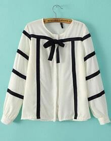 White Round Neck Striped Bow Loose Blouse
