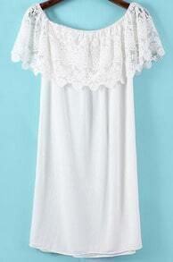 White Boat Neck Lace Straight Dress