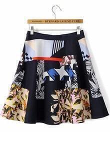 Black Floral Geometric Print Skirt