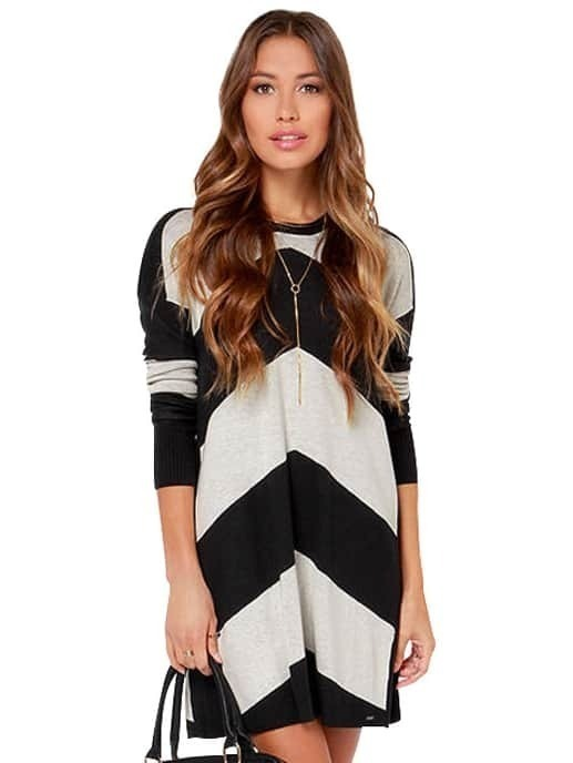 Grey Black Long Sleeve Geometric Sweater Dress - $32.67