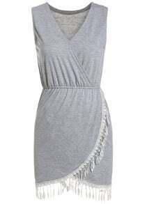 Contrast Lace V Neck Tank Dress