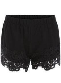 Elastic Waist Lace Black Shorts