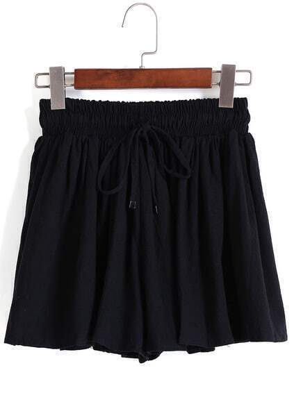 Drawstring Pleated Black Shorts