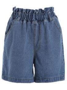 Elastic Waist Wide Leg Denim Shorts