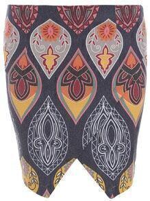 Vintage Print Asymmetrical Skirt