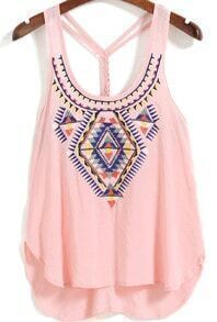 Straps Embroidered Pink Cami Top