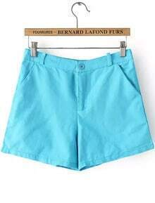 With Pockets Slim Blue Shorts
