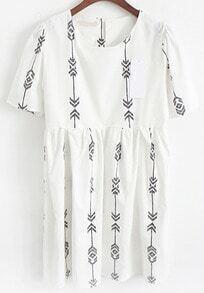 Short Sleeve Geometric Print Shift Dress