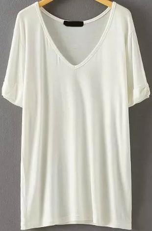 V Neck Loose White T Shirt