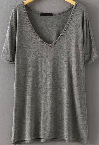 V Neck Loose Grey T Shirt