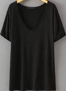 T-shirt décontracté col v - Noir