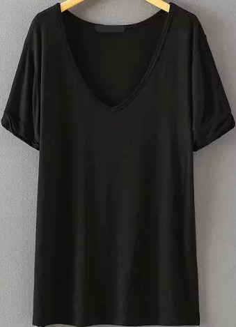 V Neck Loose Black T Shirt