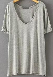 T-Shirt mit V-Ausschnitt-grau