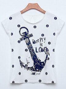 Anchors Letter Print T-shirt