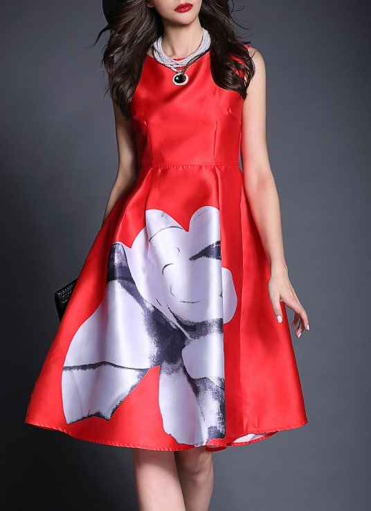 Robe col rond fleur imprimee evasee rouge french romwe for Robe rouge évasée