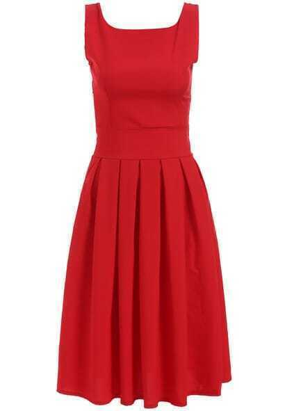 Square Neck Sleeveless Pleated Dress pictures