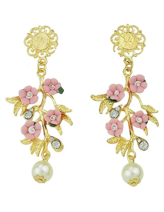 2015 New Model Colorful Hanging Flower And Leaf Shaped Drop Earrings - $4.99
