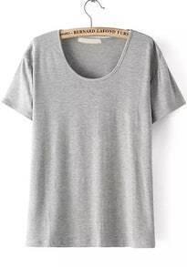 Round Neck Loose Grey T-shirt