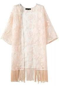 With Tassel Lace Loose Apricot Kimono