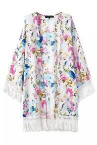 With Tassel Florals Loose Kimono