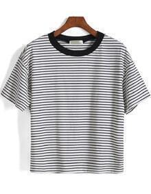 Short Sleeve Striped Loose White T-Shirt