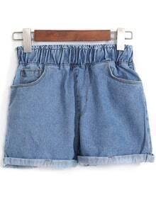 Elastic Waist Cuffed Denim Shorts