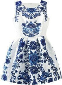 Sleeveless Blue And White Porcelain Print Flare Dress
