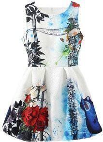 Round Neck Sleeveless Rose Guitar Print Flare Dress