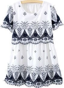 Short Sleeve Embroidered Hollow Dress