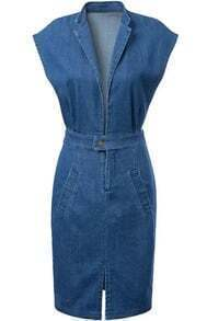 Deep V Neck Split Denim Bodycon Dress