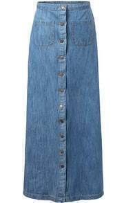 Single-breasted With Pockets Denim Skirt