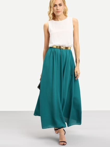 Color-block With Belt Chiffon Maxi Dress