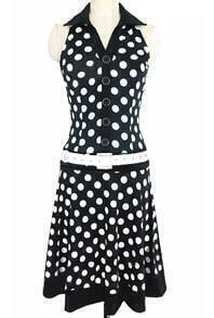 Lapel Polka Dot With Buttons Pleated Black Dress