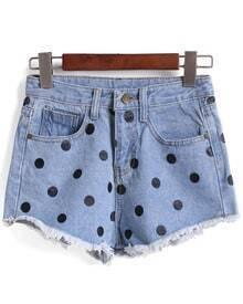 Polka Dot Fringe Denim Blue Shorts