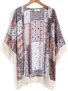 With Tassel Paisley Print Loose Kimono