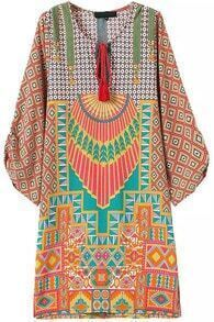Orange Knotted Collar Geometric Print Loose Dress