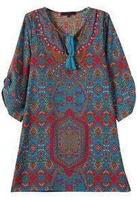 Red Blue Knotted Collar Tribal Print Loose Dress