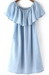 Blue Round Neck Ruffle Denim Dress