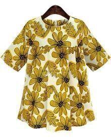 Half Sleeve Sunflower Print Shift Yellow Dress