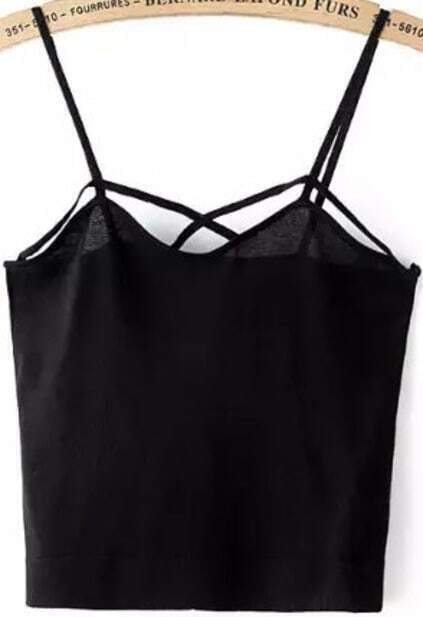 Spaghetti Strap Black Cami Top