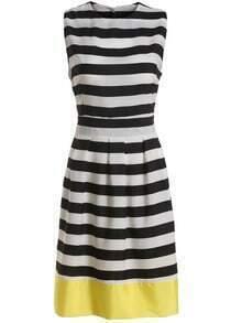 Color-block Striped Sun Dress