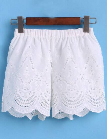 Elastic Waist Embroidered Hollow  Shorts pictures