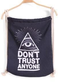 Black Eye Triangle Print Backpack