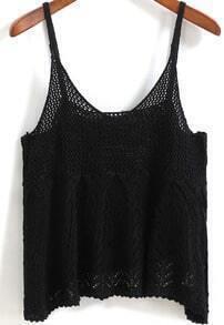 Spaghetti Strap Crochet Hollow Black Cami Top