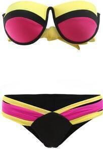 Rose Red Bandeau Top With Bikini Swimwear