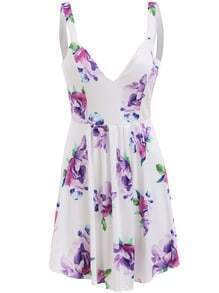 Deep V Neck High Low Florals Dress