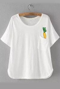 With Pocket Carrot Print T-shirt