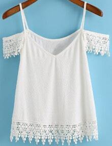 Spaghetti Strap Floral Crochet White Cami Top