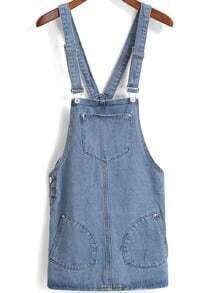 Straps With Pockets Denim Dress