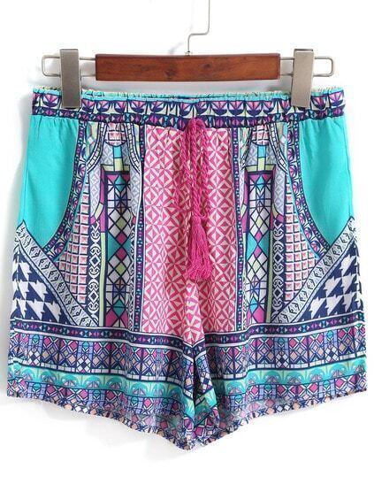 Drawstring Tribal Print Green Shorts